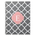 Gray Grey Peach Quatrefoil Monogram Spiral Note Books