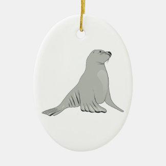 Gray Grey Sea Lion Christmas Ornament