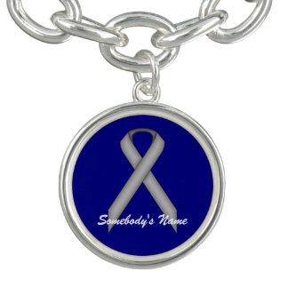 Gray / Grey Standard Ribbon by Kenneth Yoncich Charm Bracelets