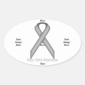 Gray / Grey Standard Ribbon by Kenneth Yoncich Oval Sticker