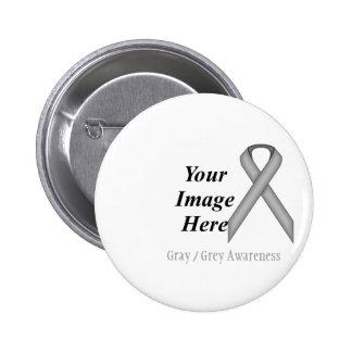 Gray / Grey Standard Ribbon by Kenneth Yoncich Pinback Button