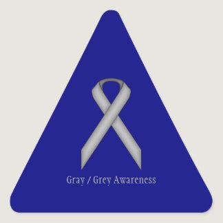 Gray / Grey Standard Ribbon by Kenneth Yoncich Triangle Sticker