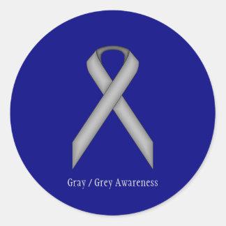 Gray / Grey Standard Ribbon Classic Round Sticker