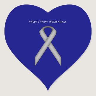 Gray / Grey Standard Ribbon Heart Sticker