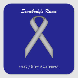 Gray / Grey Standard Ribbon Square Sticker