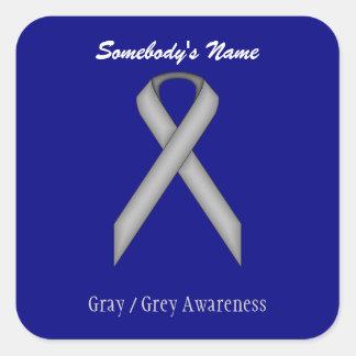 Gray / Grey Standard Ribbon Square Sticker