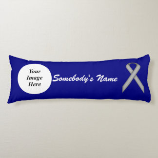 Gray / Grey Standard Ribbon Template Body Pillow