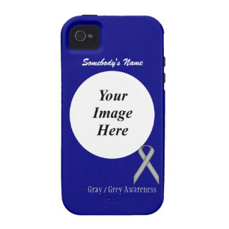 Gray / Grey Standard Ribbon Template Vibe iPhone 4 Cover