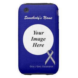 Gray / Grey Standard Ribbon Template iPhone 3 Tough Case