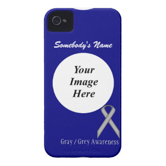 Gray / Grey Standard Ribbon Template iPhone 4 Case-Mate Case