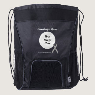 Gray / Grey Standard Ribbon Template Drawstring Backpack