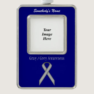 Gray / Grey Standard Ribbon Template (V-O) Silver Plated Framed Ornament