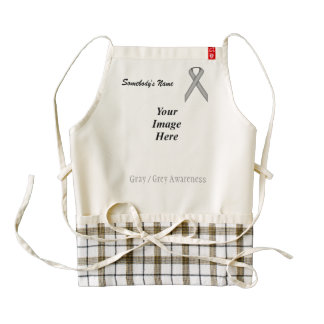 Gray / Grey Standard Ribbon Template Zazzle HEART Apron