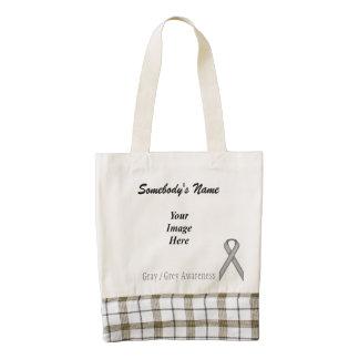 Gray / Grey Standard Ribbon Template Zazzle HEART Tote Bag