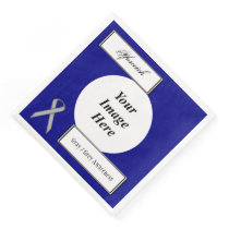 Gray / Grey Stnd Ribbon Tmpl by Kenneth Yoncich Paper Dinner Napkin