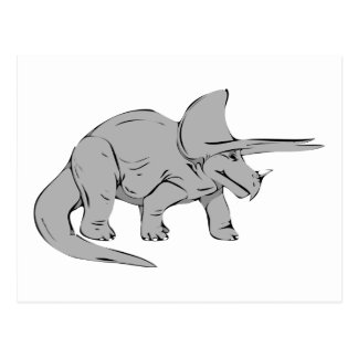 Gray/Grey Triceratops Dinosaur Postcard