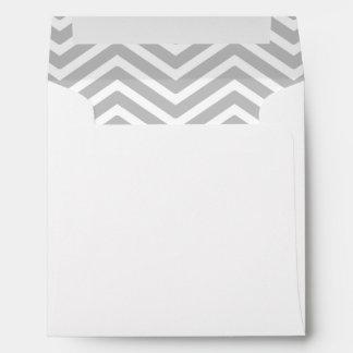 Gray Grey White Chevron Lined Envelope