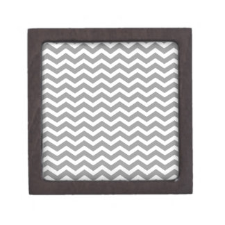 Gray Grey White Chevron Pattern Gift Box