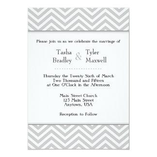 Gray Grey White Chevron Wedding Invitation