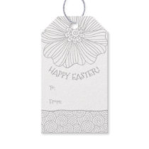 Gray Grey White Flower Swirls Easter Gift Tags