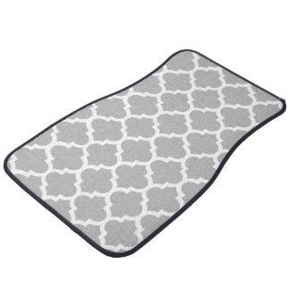 Gray Grey White Moroccan Quatrefoil Pattern #5 Car Floor Mat