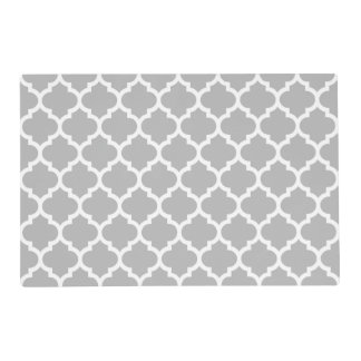 Gray Grey White Moroccan Quatrefoil Pattern #5 Laminated Placemat
