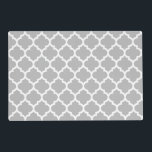 """Gray Grey White Moroccan Quatrefoil Pattern #5 Placemat<br><div class=""""desc"""">Gray and White Moroccan Quatrefoil Trellis Pattern #5    You can customize this with your own text and / or images if you so choose to make your own unique design.    If you would like this design in other colors,  just drop us an email.    2014 &#169;FantabulousPatterns All rights reserved</div>"""