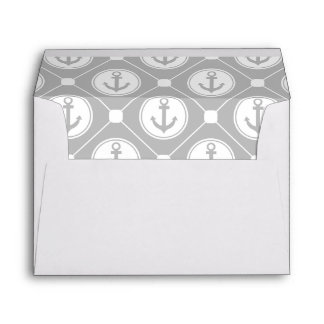 Gray Grey White Nautical Anchor Lined Envelopes