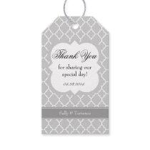 Gray Grey White Quatrefoil Wedding Thank You Tag
