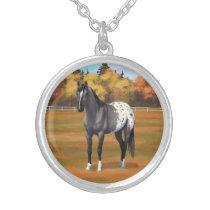 Gray Grulla Appaloosa Quarter Horse Stallion Silver Plated Necklace