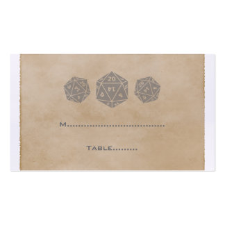 Gray Grunge D20 Dice Gamer Place Card Business Card Templates