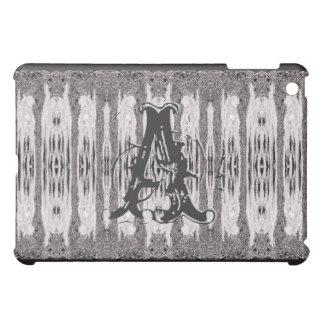 Gray Grunge Pattern Monogrammed Ipad Case