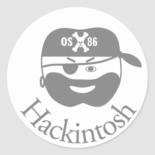Gray hackintosh osx86 classic round sticker