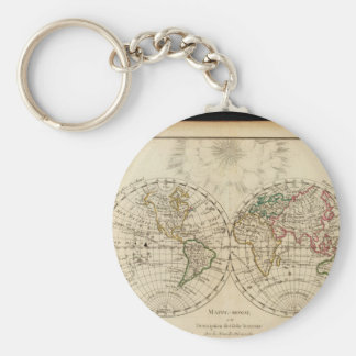 Gray-haired World Map 22 Keychain