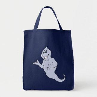 Gray Halloween Ghost Tote Bag