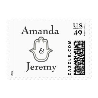 Gray hamsa hand wedding postage