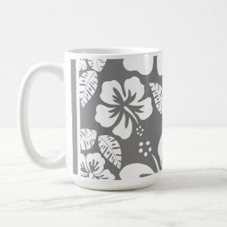 Gray Hawaiian Tropical Hibiscus Classic White Coffee Mug