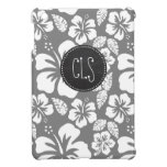 Gray Hawaiian Tropical Hibiscus; Retro Chalkboard iPad Mini Cover
