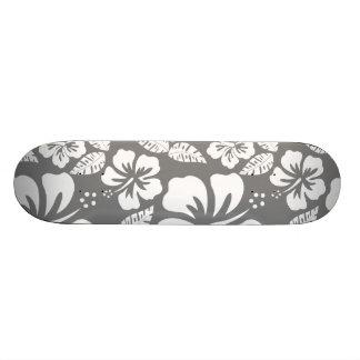 Gray Hawaiian Tropical Hibiscus Skateboard