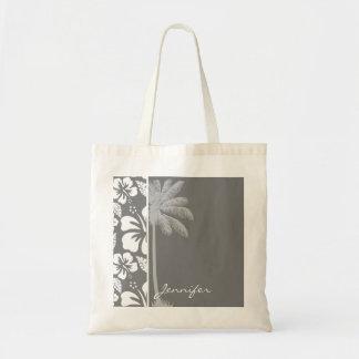 Gray Hawaiian Tropical Hibiscus; Summer Palm Budget Tote Bag