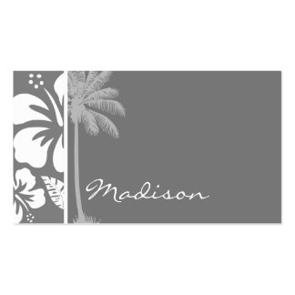 Gray Hawaiian Tropical Hibiscus; Summer Palm Business Card Templates