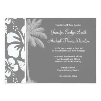 Gray Hawaiian Tropical Hibiscus; Summer Palm Personalized Invitations