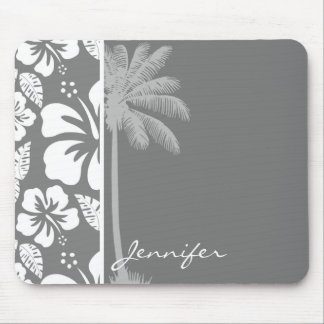 Gray Hawaiian Tropical Hibiscus; Summer Palm Mouse Pad