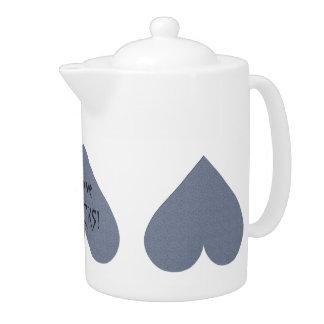 Gray Heart Anti-Valentine custom teapot