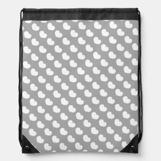 Gray Heart Candy Design Change Background Color Drawstring Bag