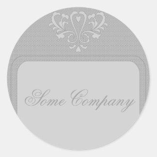 Gray Heart Damask Classic Round Sticker