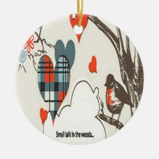 Gray heart design Double-Sided ceramic round christmas ornament