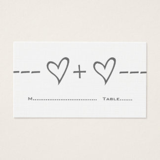 Gray Heart Equation Place Card