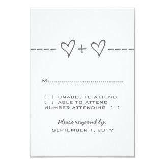 "Gray Heart Equation Response Card 3.5"" X 5"" Invitation Card"