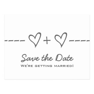 Gray Heart Equation Save the Date Postcard